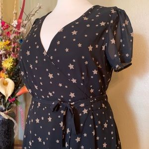 Star print wrap dress- eshakti